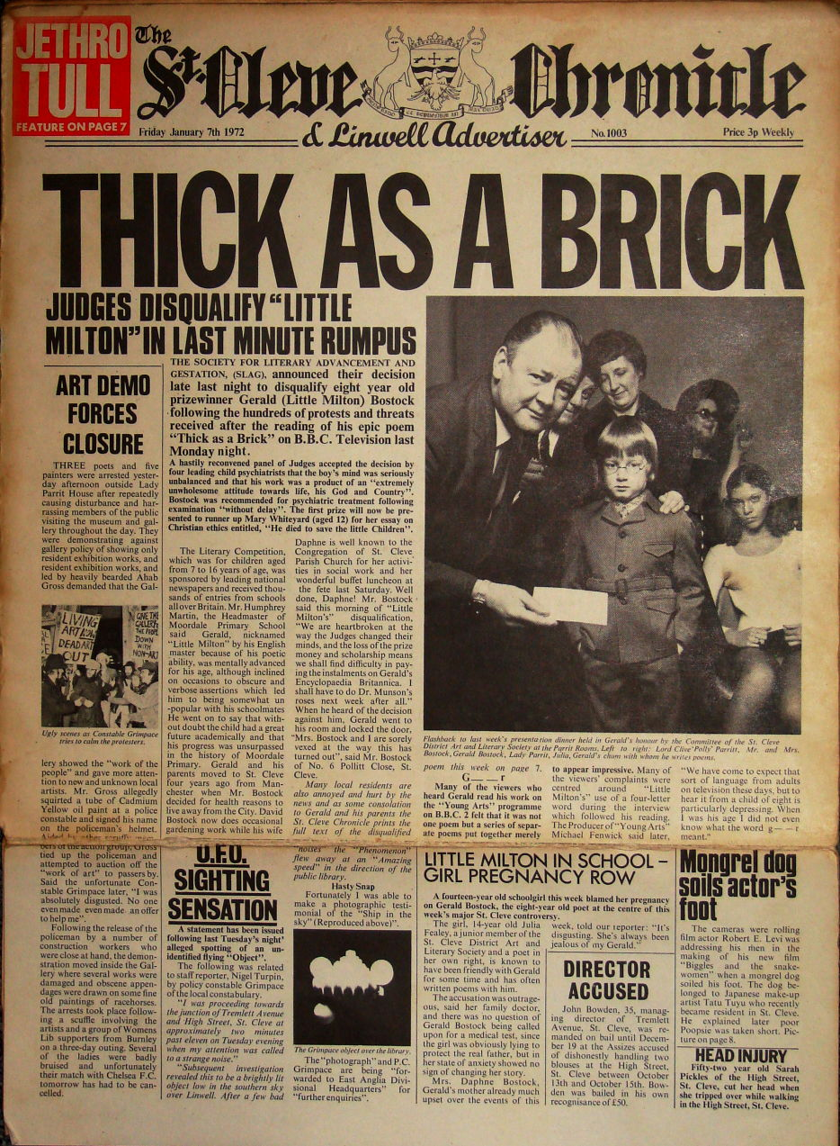 Thick as a brick Jethro tull cover